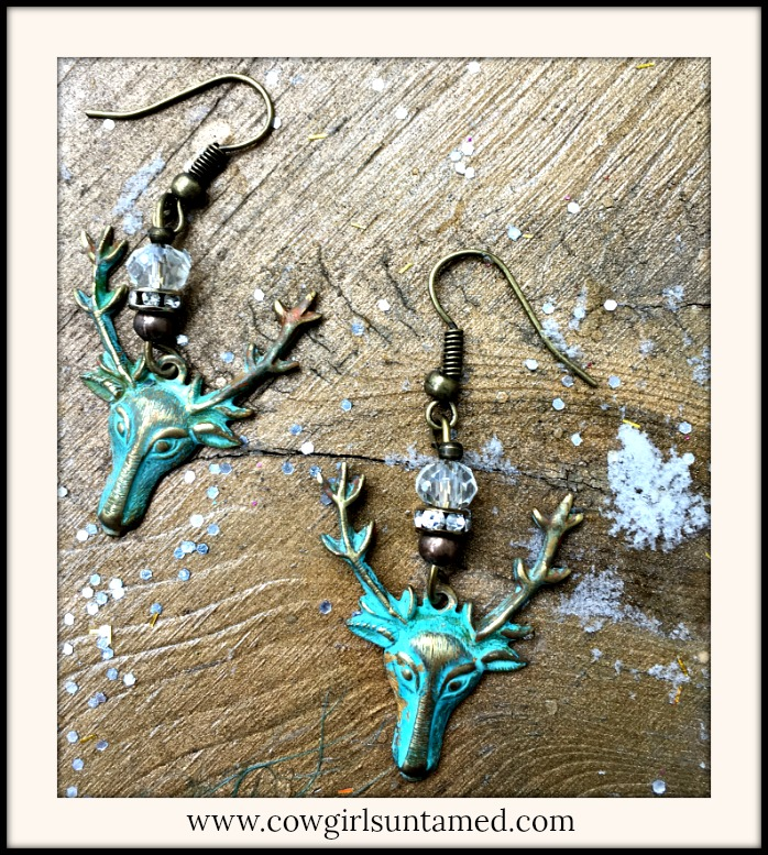 VINTAGE COWGIRL EARRINGS Patina Buck Deer Crystal and Rhinestone Antique Bronze Earrings