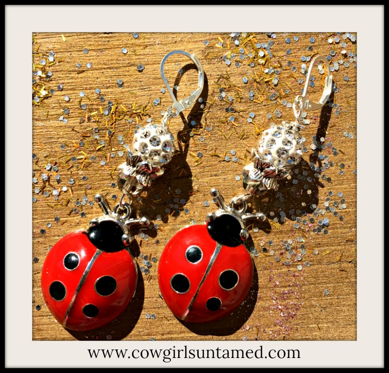 WILDFLOWER EARRINGS Crystal & Rhinestone White Beaded Ladybug Charm Earrings