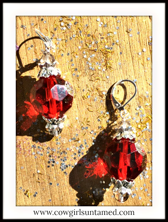 VINTAGE COWGIRL EARRINGS Large Faceted Round Crystal Silver Earrings