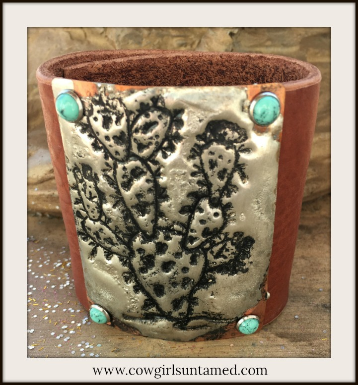 COWGIRL STYLE CUFF Silver Soldered Prickly Pear Cactus Antique Copper Bracelet