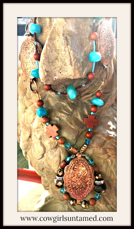 BOHEMIAN COWGIRL NECKLACE Vintage Arrow Copper Concho Brown Turquoise Gemstones Rhinestone Aqua Beaded LONG Boho Necklace