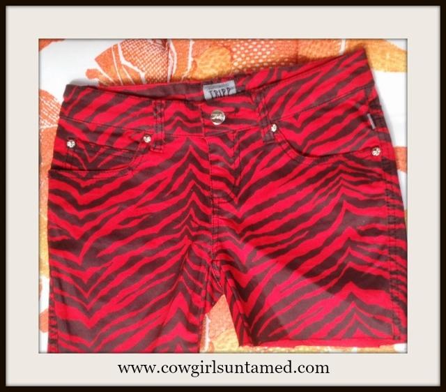 COWGIRLS ROCK SHORTS Silver Skull Rivets on Red and Black Zebra Cutoff Designer Shorts