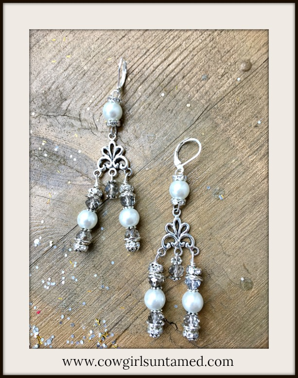BOHEMIAN COWGIRL EARRINGS Rhinestone Crystals and Pearl Silver Chandelier Earrings