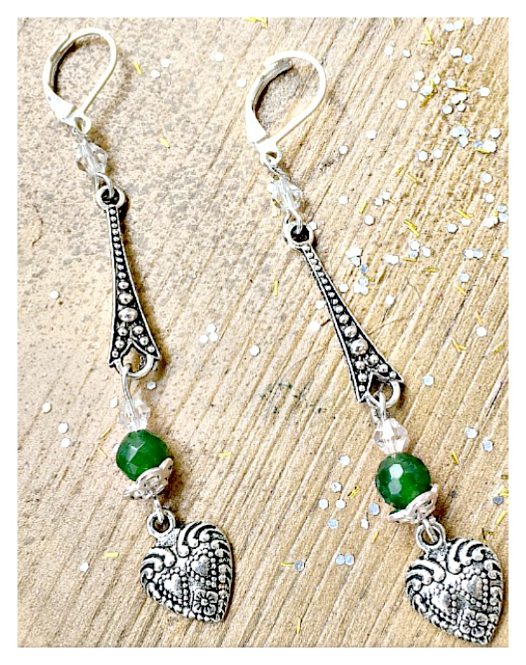 BOHEMIAN COWGIRL EARRINGS Green Gemstone Crystal & Heart Charm Long Earrings