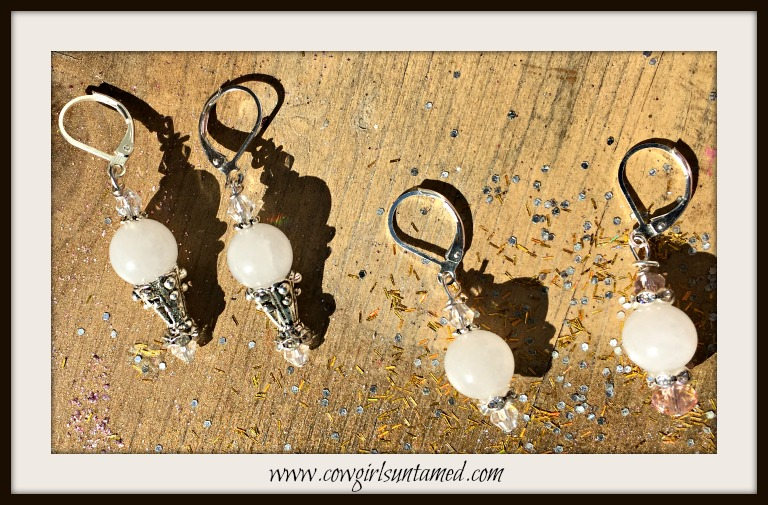 WILDFLOWER EARRINGS  White Jade & Crystal Boho Chic Earrings