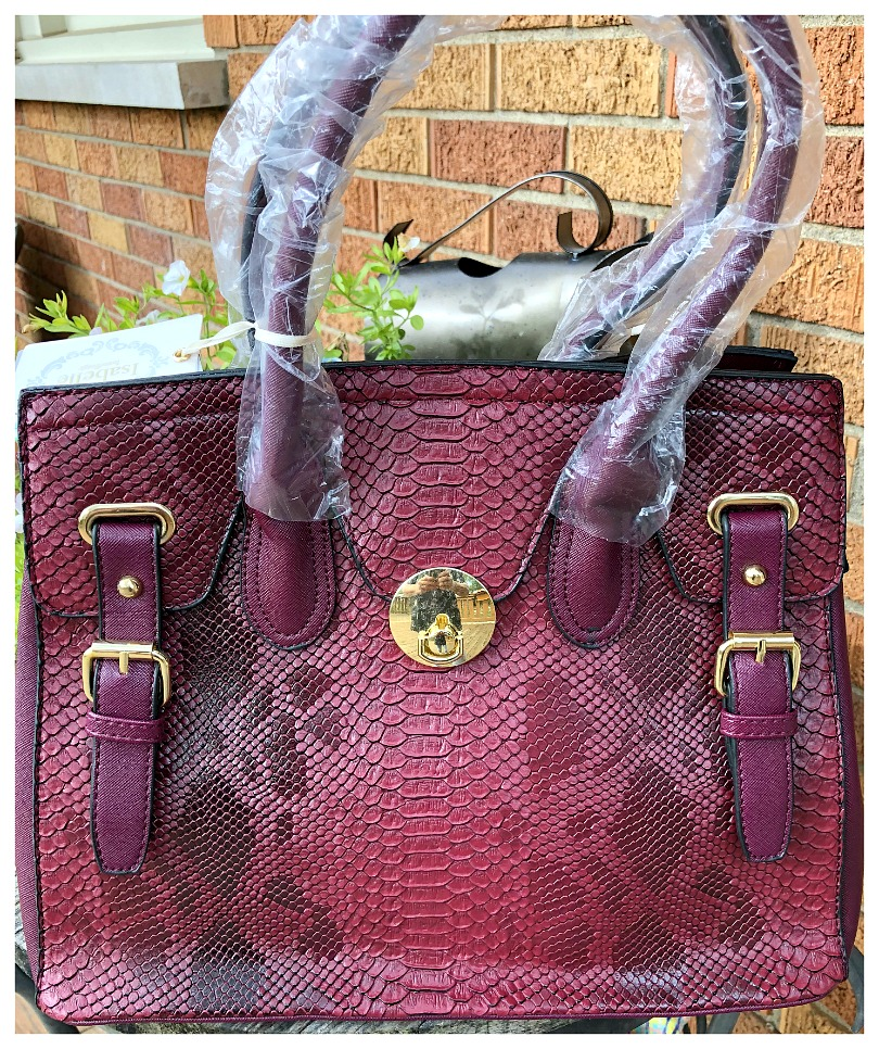 TOUCH OF GLAM HANDBAG Shades of Burgundy & Red Snakeskin Print Handbag