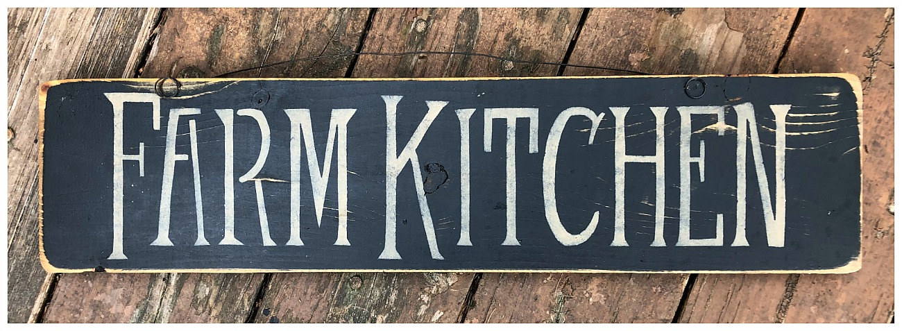 "FARMHOUSE STYLE DECOR ""FARM KITCHEN"" Black Painted Distressed Wood Sign LAST ONE"