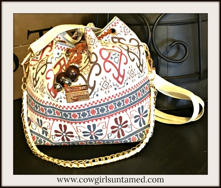 BOHO BAG Boho Canvas with Handmade Leather and Wood Ties Bucket Shoulder Bag