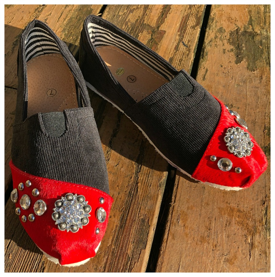COWGIRL FLATS SHOES Western Rhinestone Antique Silver Concho Crystal Studded Red hair on Hide Black Corduroy Flats LAST PAIR SIZE 7