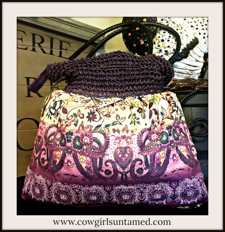 BOHO CHIC BAG Shades of Purple Gold Green & Yellow Paisley Floral Butterfly Bag