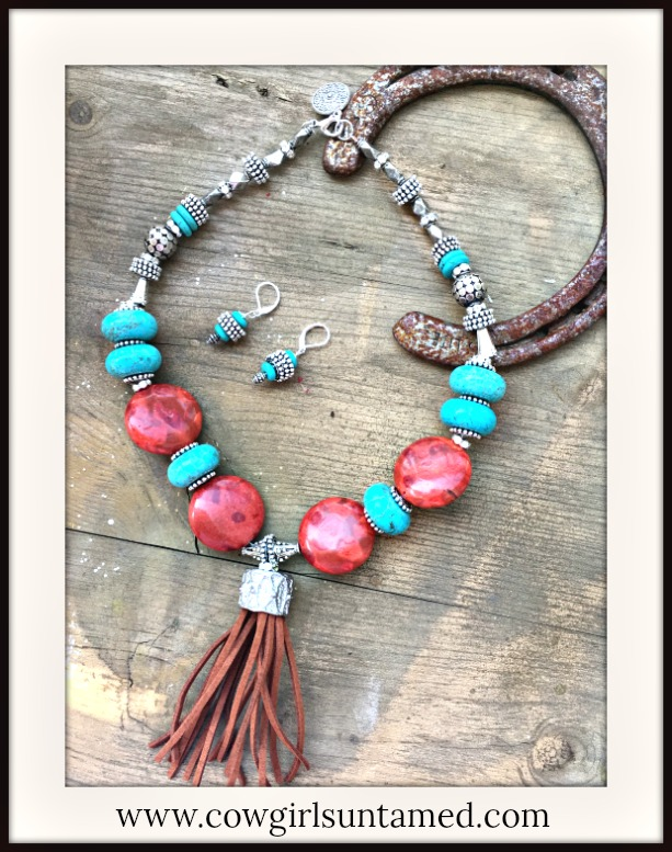 BOHEMIAN COWGIRL NECKLACE Large Genuine Red Coral & Turquoise Brown Tassel Silver Necklace and FREE EARRINGS