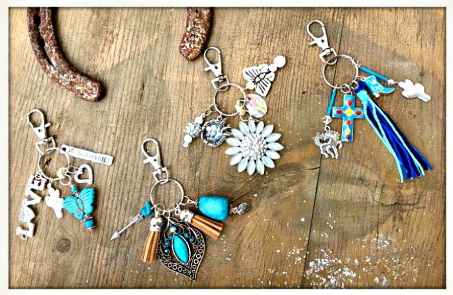 BOHEMIAN COWGIRL KEY CHAIN Silver Charm Purse Accessory / Key Chain 4 STYLES!