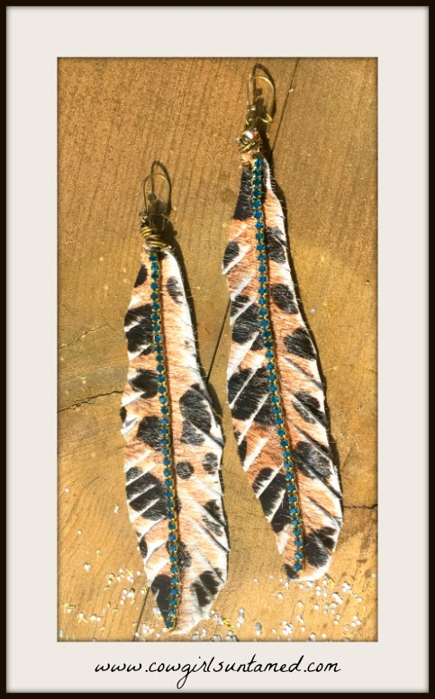 ON THE PROWL EARRINGS Teal Rhinestone on Large Leopard GENUINE LEATHER Feather Bronze Earrings