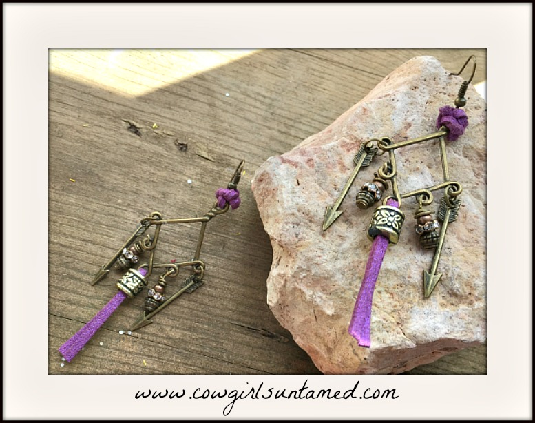 BOHEMIAN COWGIRL EARRINGS Purple Leather Tassel Antique Bronze Arrow Rhinestone Charm Earrings