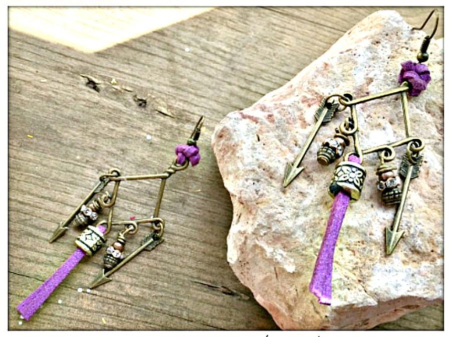 BOHEMIAN TASSEL EARRINGS Purple Leather Tassel Antique Bronze Arrow Rhinestone Charm Earrings