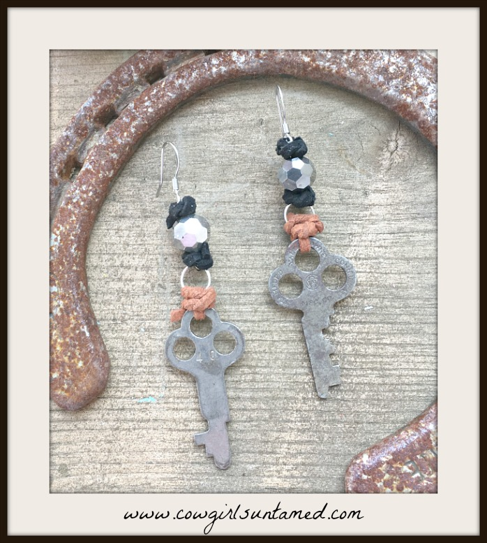 JUNK GYPSY EARRINGS Antique Keys Brown & Black Leather Accents Crystal Earrings