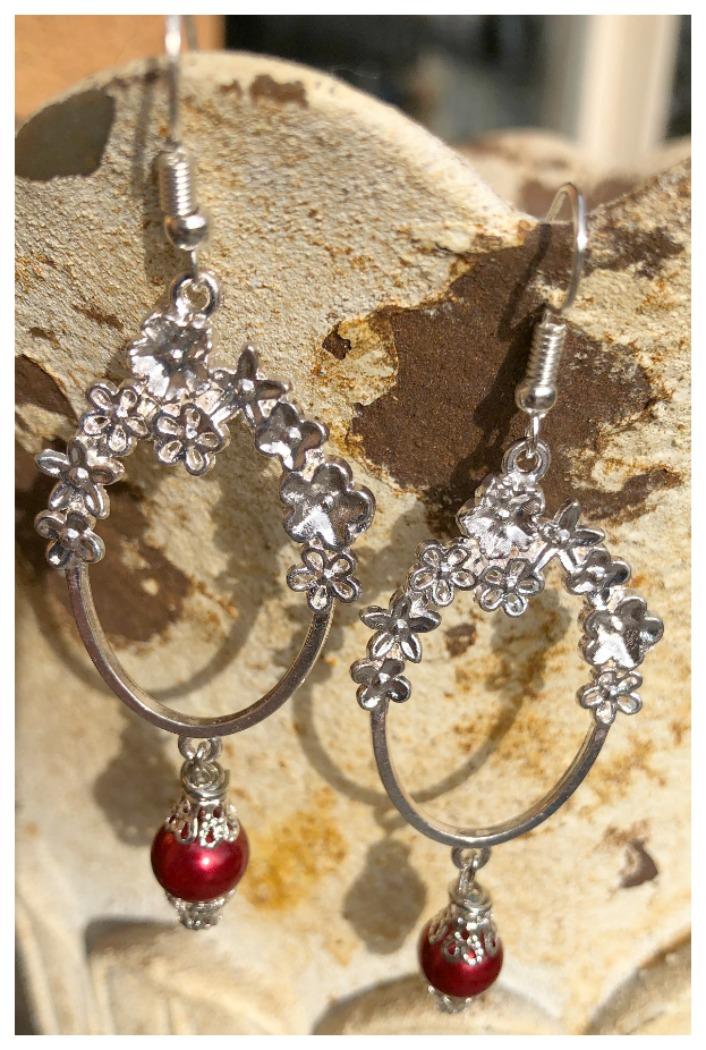 LADY IN RED EARRINGS Custom Silver Floral Hoops Vintage Burgundy Red Pearl Charm Dangle Earrings