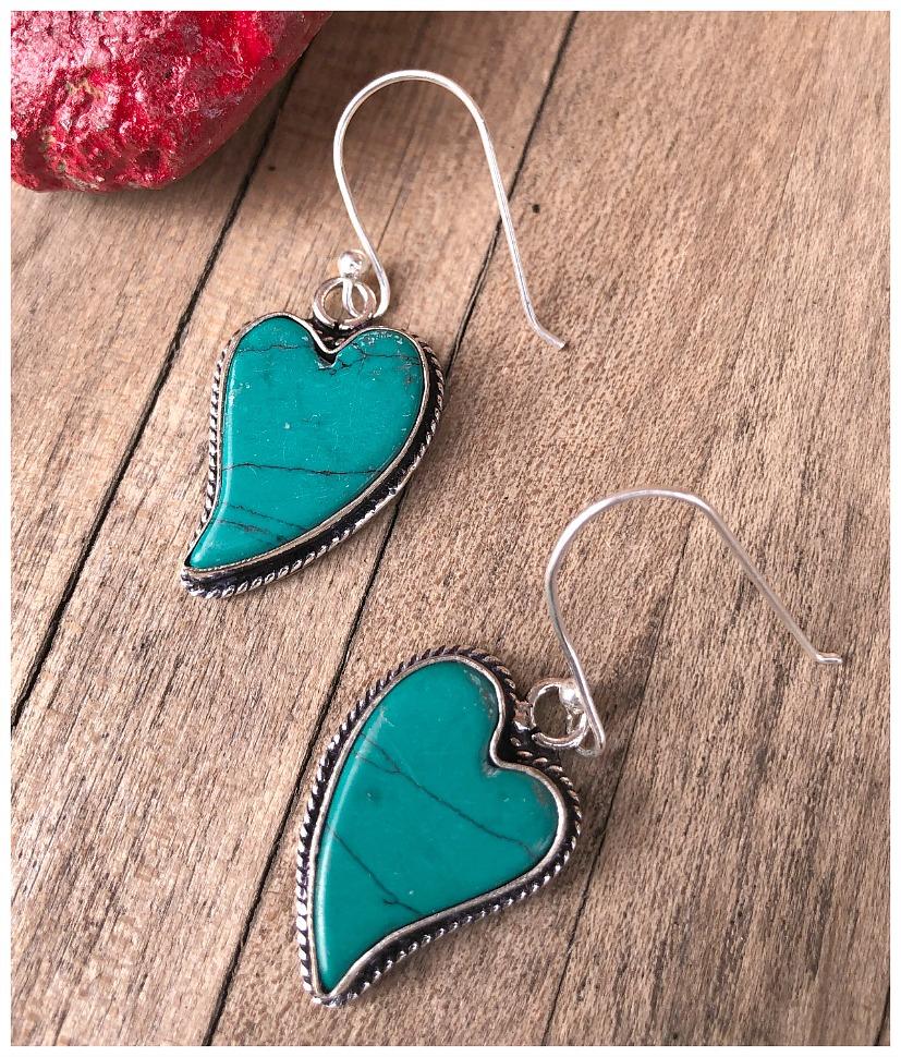 THE SWEETHEART EARRINGS 925 Sterling Silver Santa Rosa Turquoise Heart Shaped Dangle Earrings
