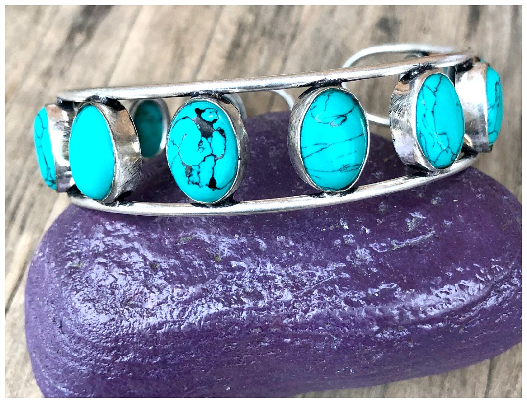 THE SANTA MARIA CUFF Turquoise Stone 925 Sterling Silver Overlay Cuff Bracelet