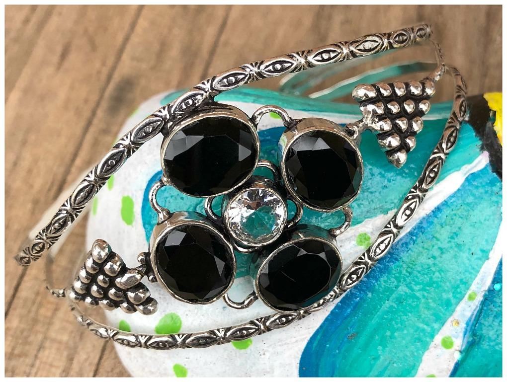 BOHEMIAN COWGIRL CUFF Black Spinel Gemstone 925 Sterling Silver Cuff Bracelet