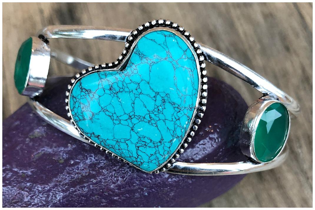 THE SANTA ROSA CUFF Santa Rosa Turquoise Heart & Emerald Gemstone 925 Sterling Silver Cuff Bracelet