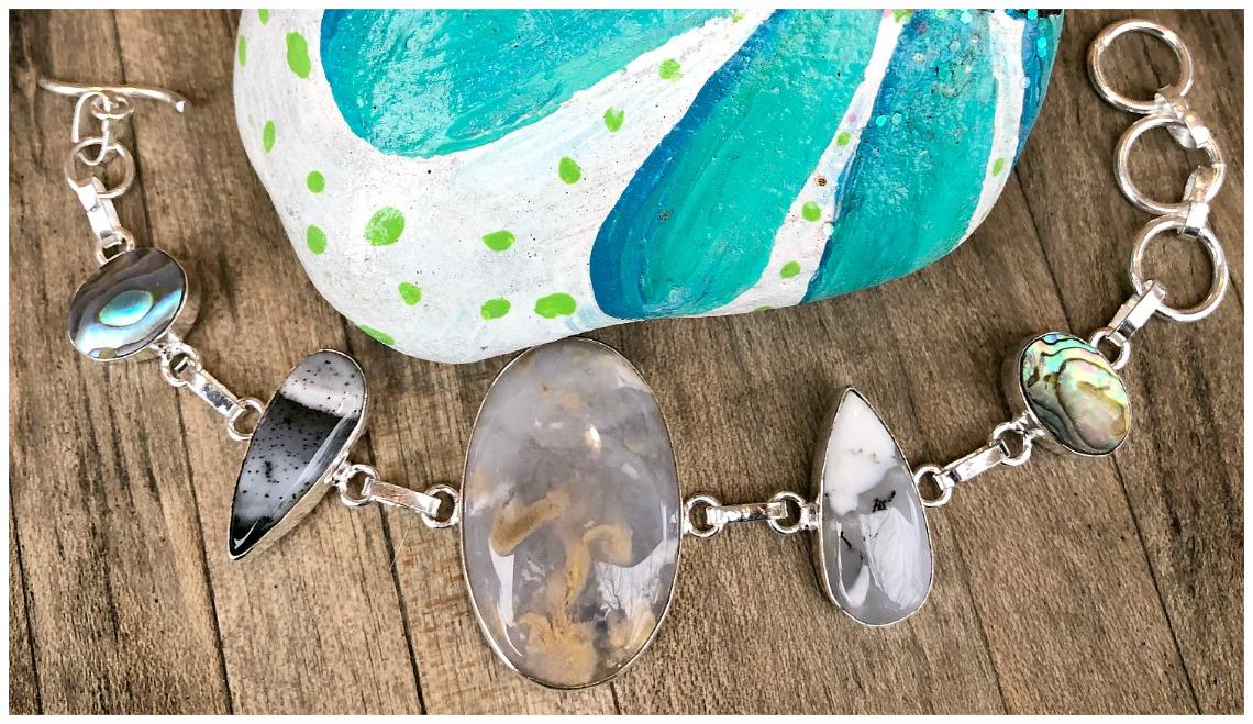 BOHEMIAN COWGIRL BRACELET Agate Gemstone Multi Stone 925 Sterling Silver Bracelet