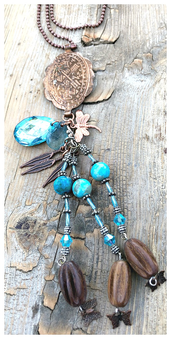 COWGIRL JUNK GYPSY NECKLACE Custom Antique Etched Copper Concho Pendant with Gemstone & Crystals Charm Long Necklace