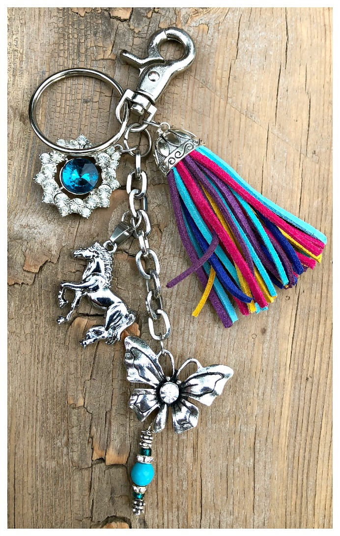 COWGIRL KEY CHAIN Handmade Multi Color Silver Tassel Butterfly Rhinestone Turquoise Horse Charm Purse Accessory / Key Chain