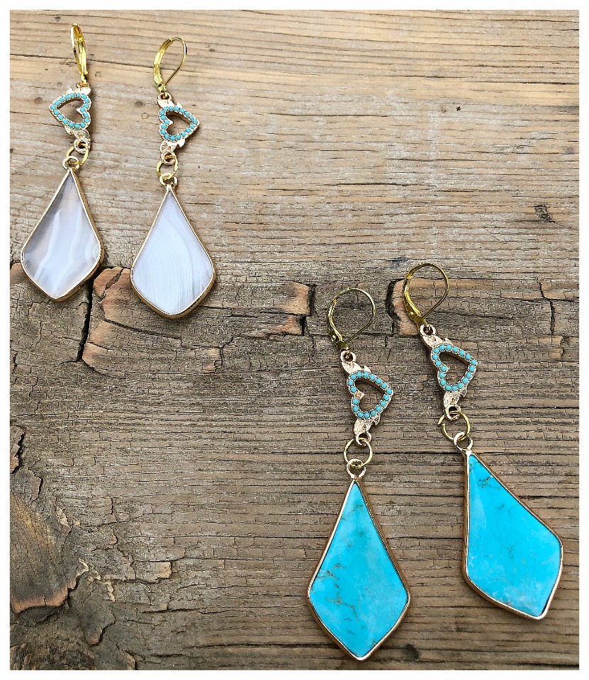 THE TAYLOR EARRINGS Handmade Turquoise Heart Golden Gemstone Dangle Earrings  2 colors