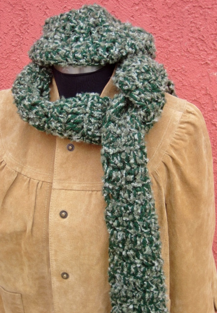 COUNTRY COWGIRL SCARF SET Multi Camo Green Hand Knit Western Hat and Scarf SET