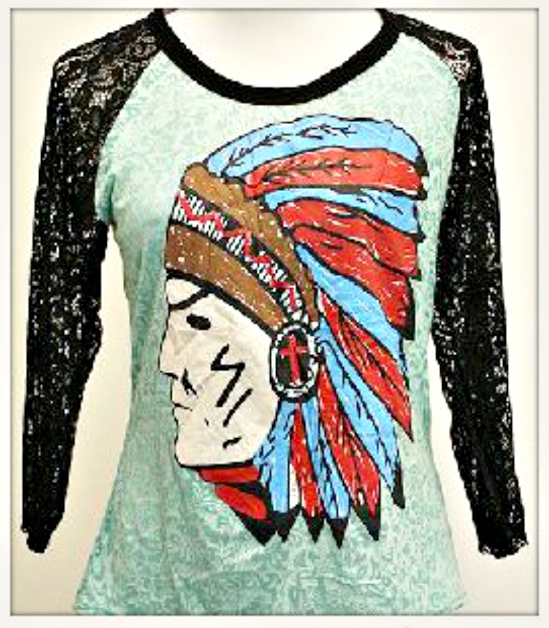 AMERICAN COWGIRL TOP Red & Blue Indian Chief 3/4 Black Lace Sleeve on Aqua Burnout PLUS SIZE Tee LAST ONE!