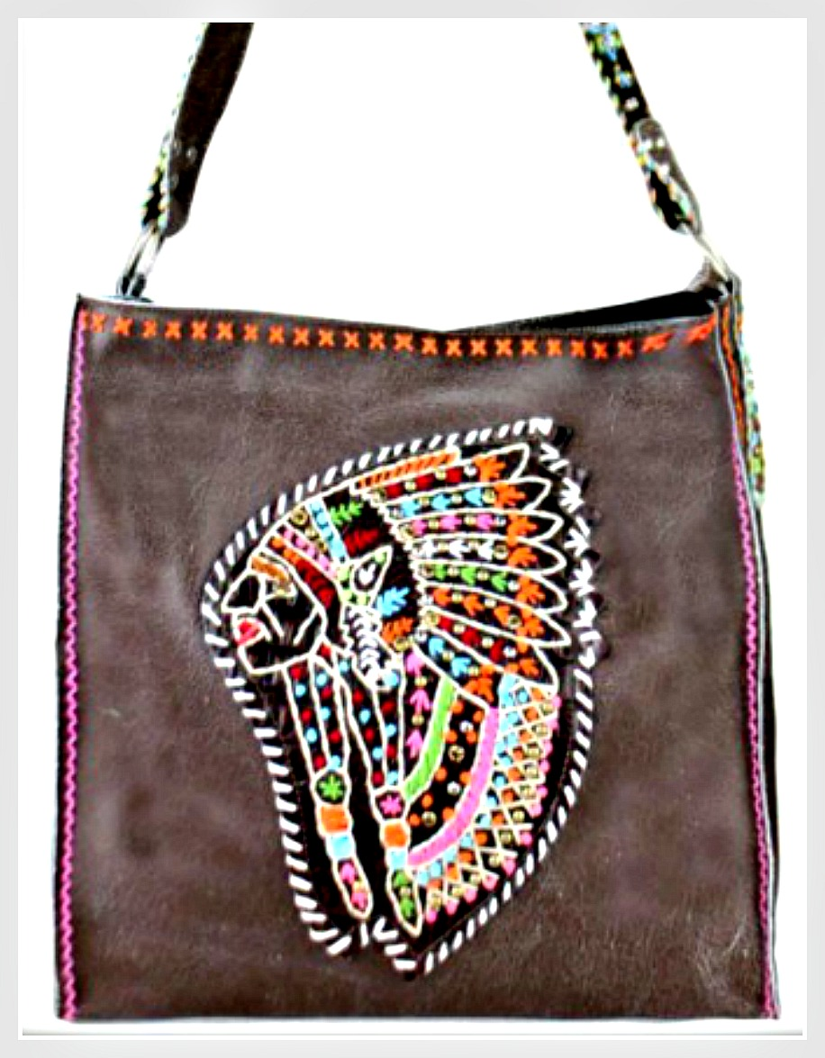 BOHEMIAN COWGIRL HANDBAG Pink or Brown Embroidered Crystal Studded Indian Chief on Genuine Leather Tote