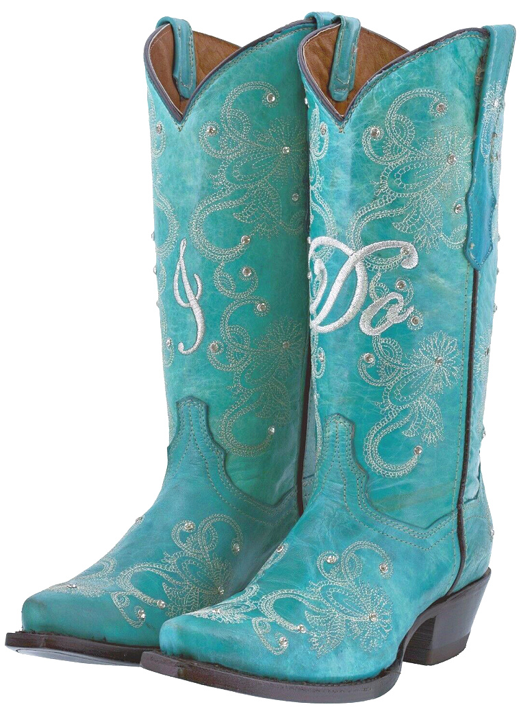 "COWGIRL WEDDING BOOTS White ""I Do"" Floral Embroidered Crystal Studded Turquoise Wedding Cowgirl Boots 5-11"