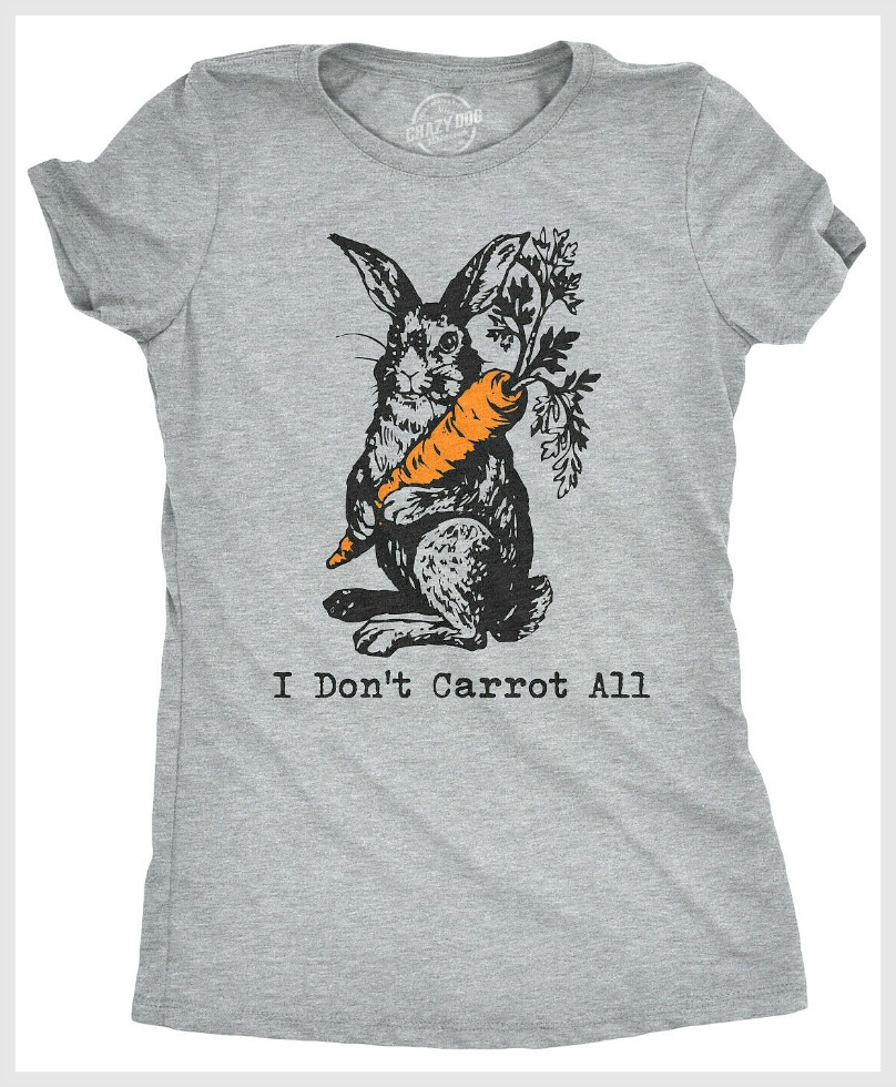 "CARROT ALL TEE ""I DON'T CARROT ALL"" Bunny Graphic Farmhouse Short Sleeve Grey Tshirt Top"
