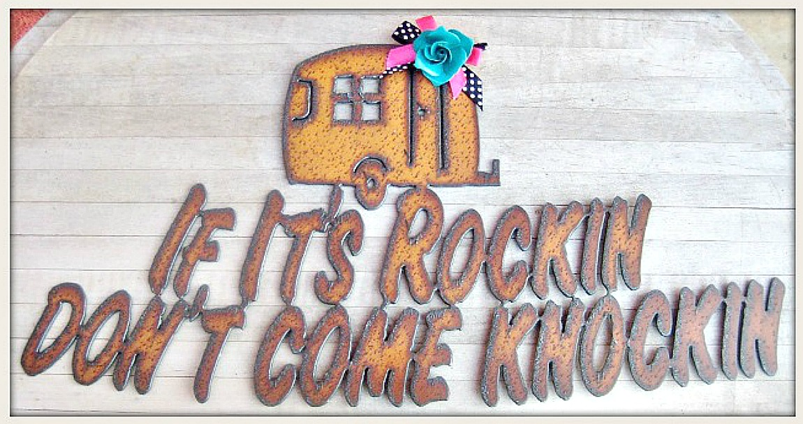 "TRAVELIN' COWGIRL GYPSY DECOR Polka Dot Bow on Teal Metal Rose on ""If It's Rockin Don't Come Knockin"" Recycled Metal Hanging Western Sign"