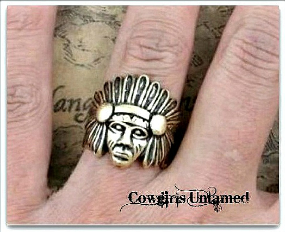 COWGIRL GYPSY RING Indian Chief in Feather Headdress Antique Bronze Western Ring