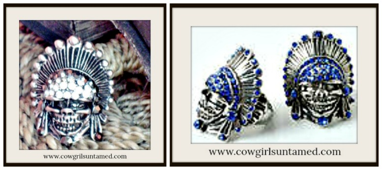 COWGIRL GYPSY RING Rhinestone Indian Chief Skull Western Cowgirl Chic Antique Adjustable Ring