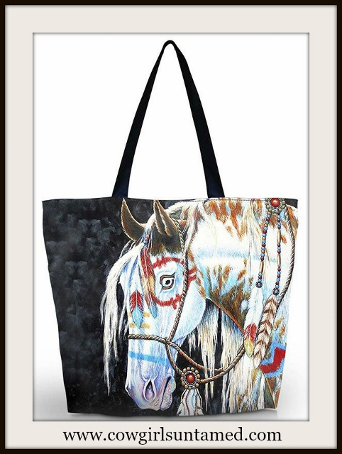 WESTERN COWGIRL BAG Indian War Pony Shoulder Bag Tote
