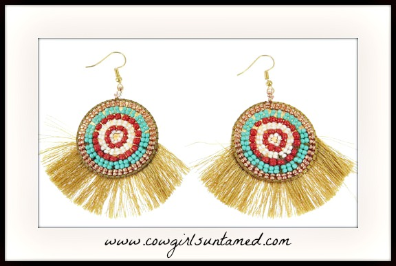 BOHO CHIC EARRINGS Turquoise & Red Indian Beaded Silk Fan Gold Boho Earrings