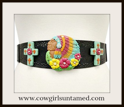 BOHEMIAN COWGIRL BELT Native American Indian Chief Crosses & Flowers Stretchy Wide Belt