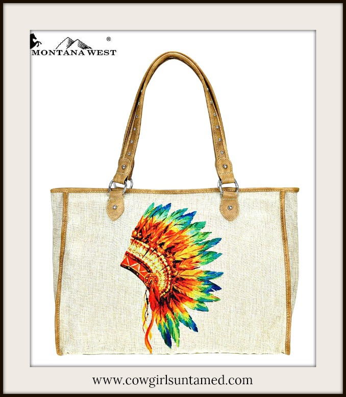 BOHEMIAN COWGIRL TOTE Indian Multi Color Feather Headdress Print on Tan Canvas Tote