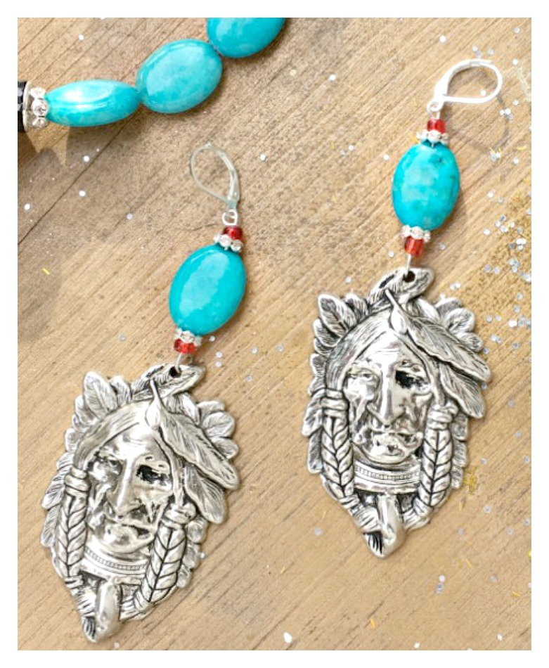 AMERICAN COWGIRL EARRINGS Large Silver Indian Chief on Long Beaded Earrings