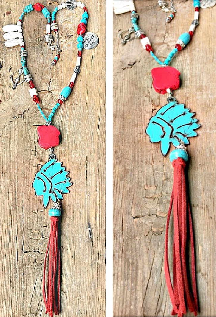 WILD & FREE NECKLACE Metal Indian Chief Head Red Leather Tassel Pendant Turquoise & Charm Beaded Silver Necklace