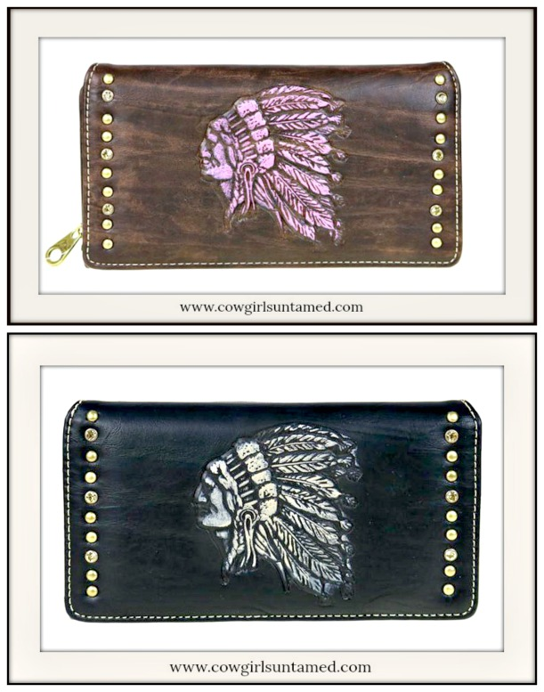 COWGIRL GYPSY WALLET Beautiful Tooled Crystal & Gold Studded Indian Chief Wallet