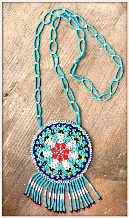 BOHEMIAN COWGIRL NECKLACE Hand Beaded Turquoise & Blue Seed Bead Fringe Necklace