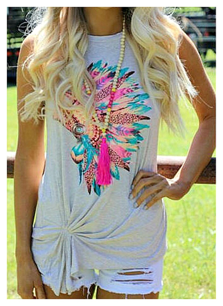 THE CHIEFTAIN TOP Leopard Turquoise Yellow Pink Feather Indian Chief Headdress Ruched Front Grey Boho Tank Top