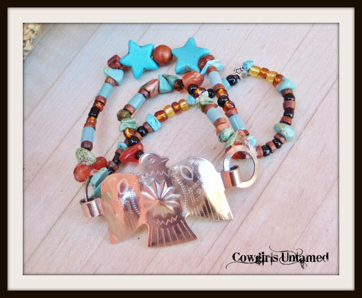 COWGIRL STYLE BRACELET AnTiqUe STaiNLeSS StEeL EaGLe CoNcHo TuRqUoiSe & GeMsToNe STrEtCh BrAceLeT