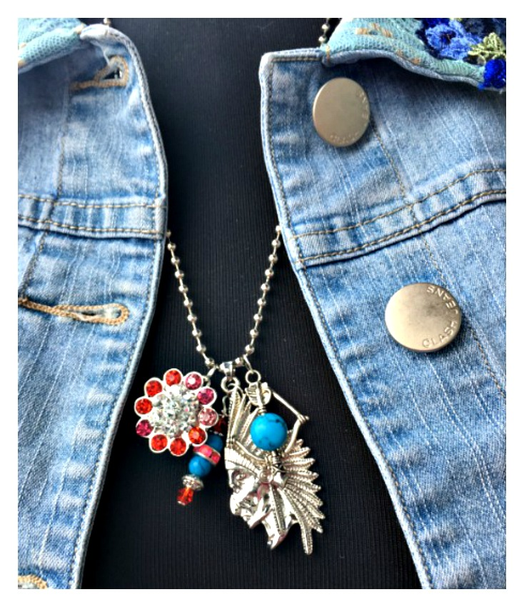 COWGIRL STYLE NECKLACE Indian Chief & Rhinestone REMOVABLE Snap Pendant Bow & Arrow Charm Necklace