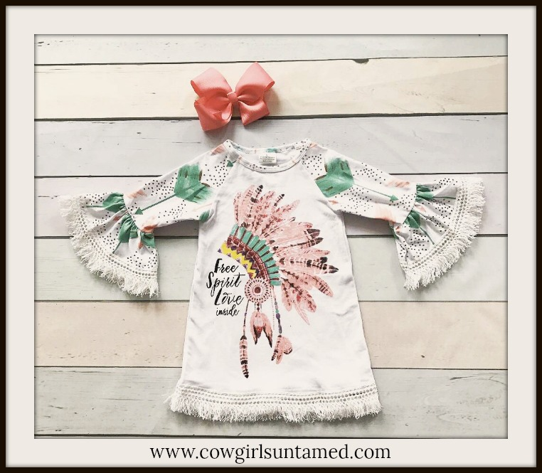 LITTLE COWGIRL DRESS Pink and Green Indian Chief Headdress Fringe Sleeve Dress & Free Bow