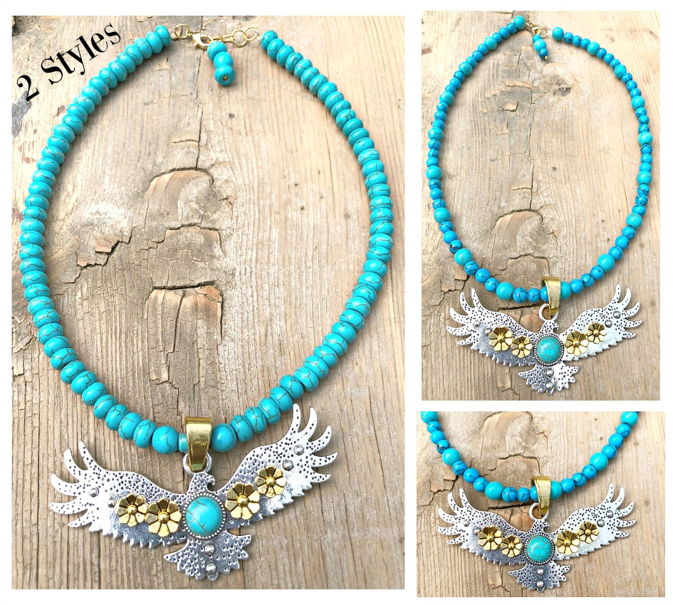 INTO THE SKY NECKLACE Custom Silver & Gold Plated Large Eagle Pendant Turquoise Beaded Necklace  2 STYLES